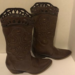 XOXO Indy Brown Embellished Cowboy Boots